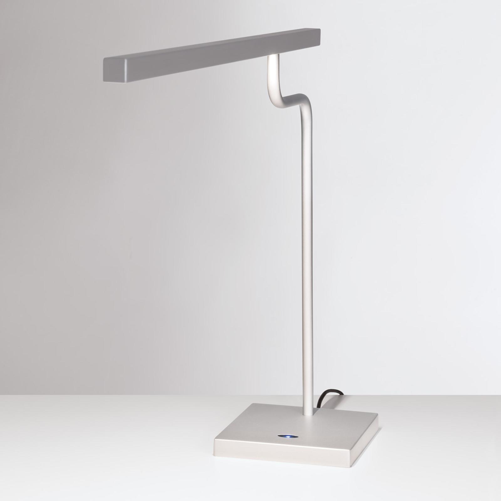 Zilvergrijze LED bureaulamp MicroStick