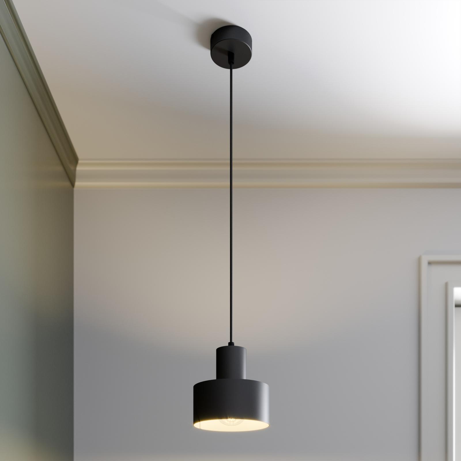 Závěsné světlo Rif z kovu, černé, Ø 15 cm