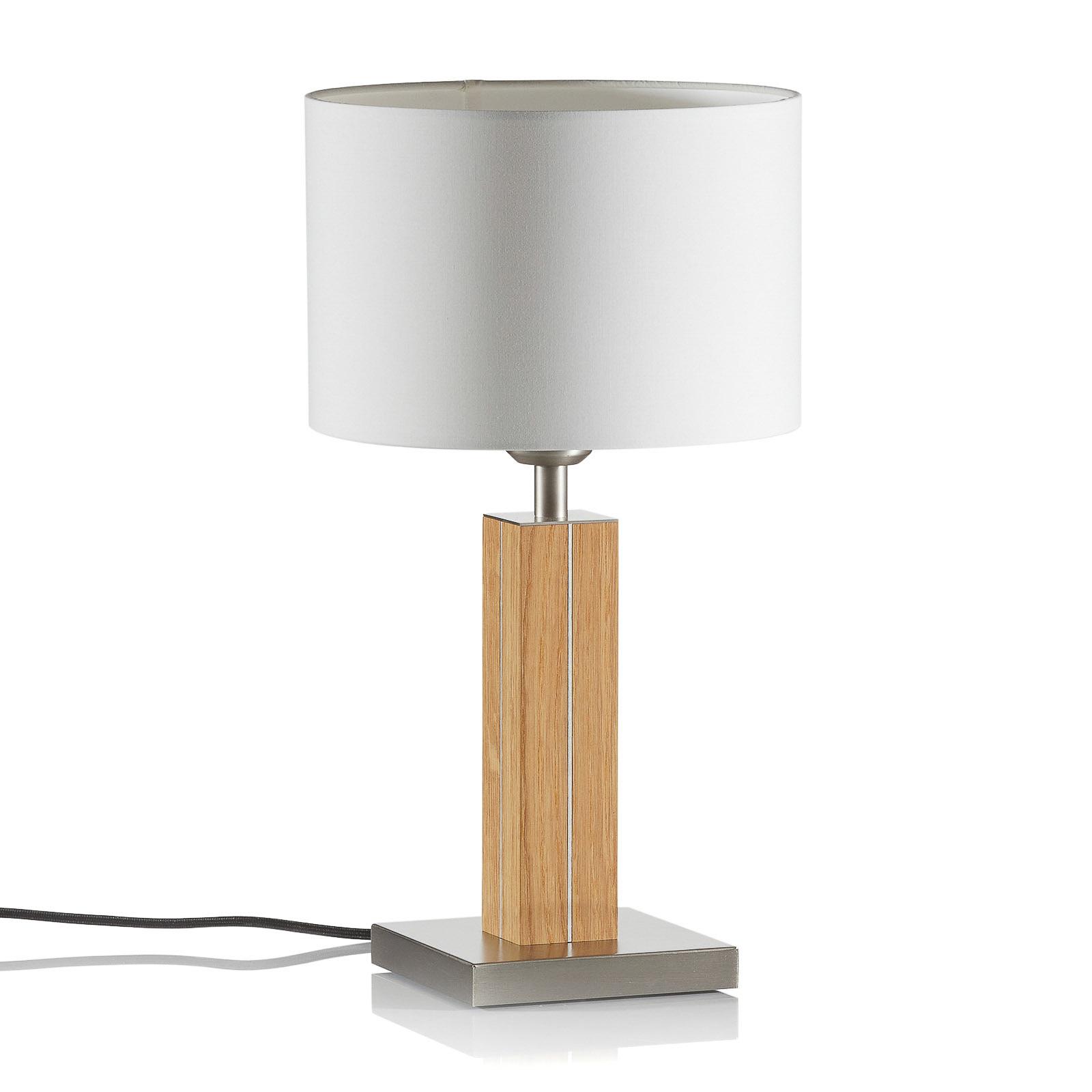 HerzBlut Dana lámpara de mesa, pie de madera roble