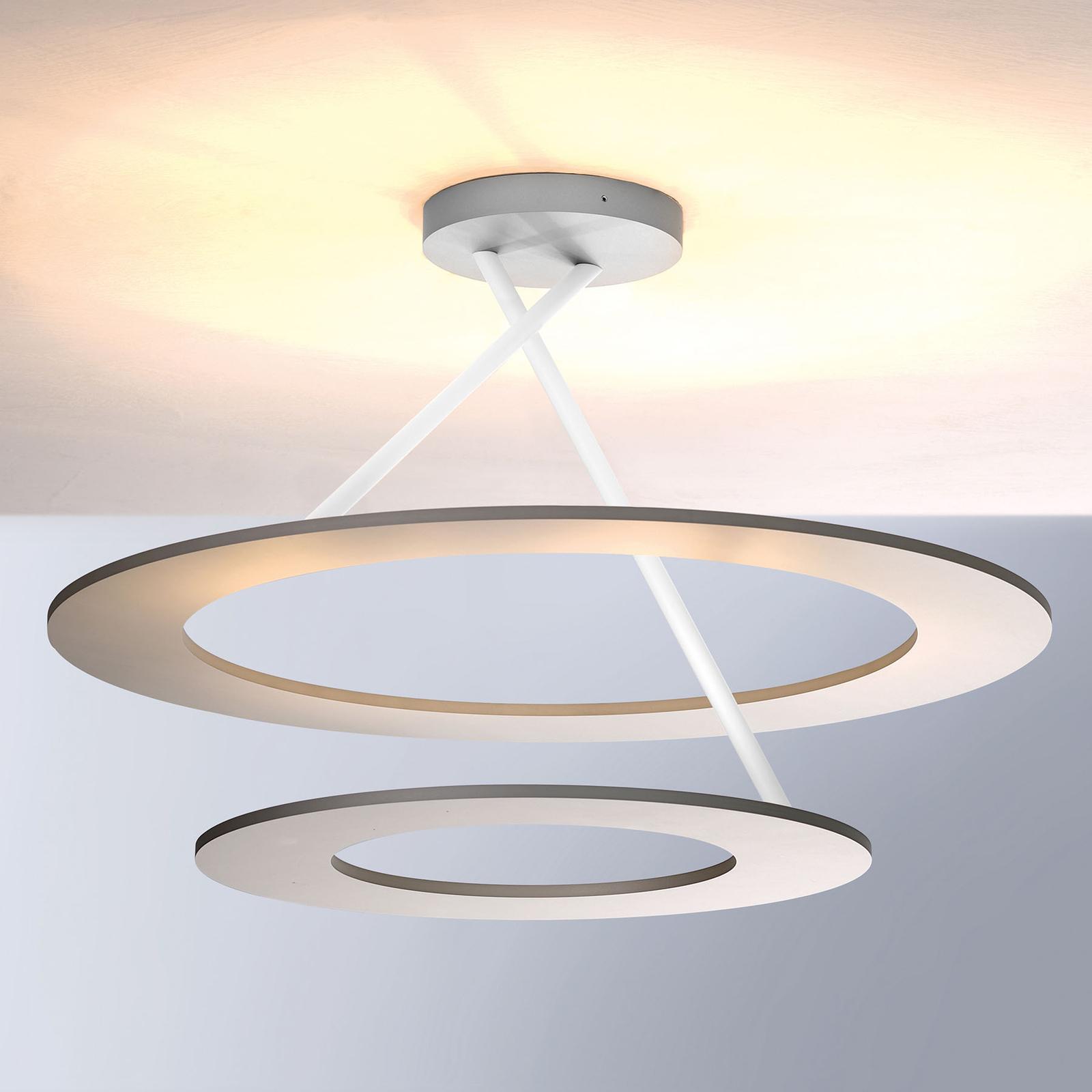 Bopp Stella LED-Deckenlampe 2 Ringe alu/weiß