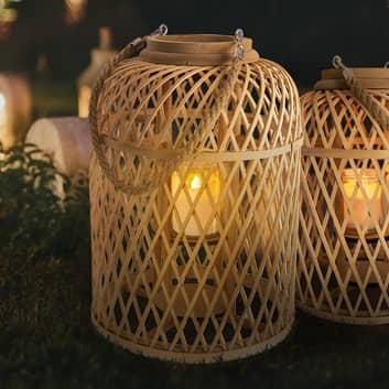 Lámpara LED solar Cesta, bambú
