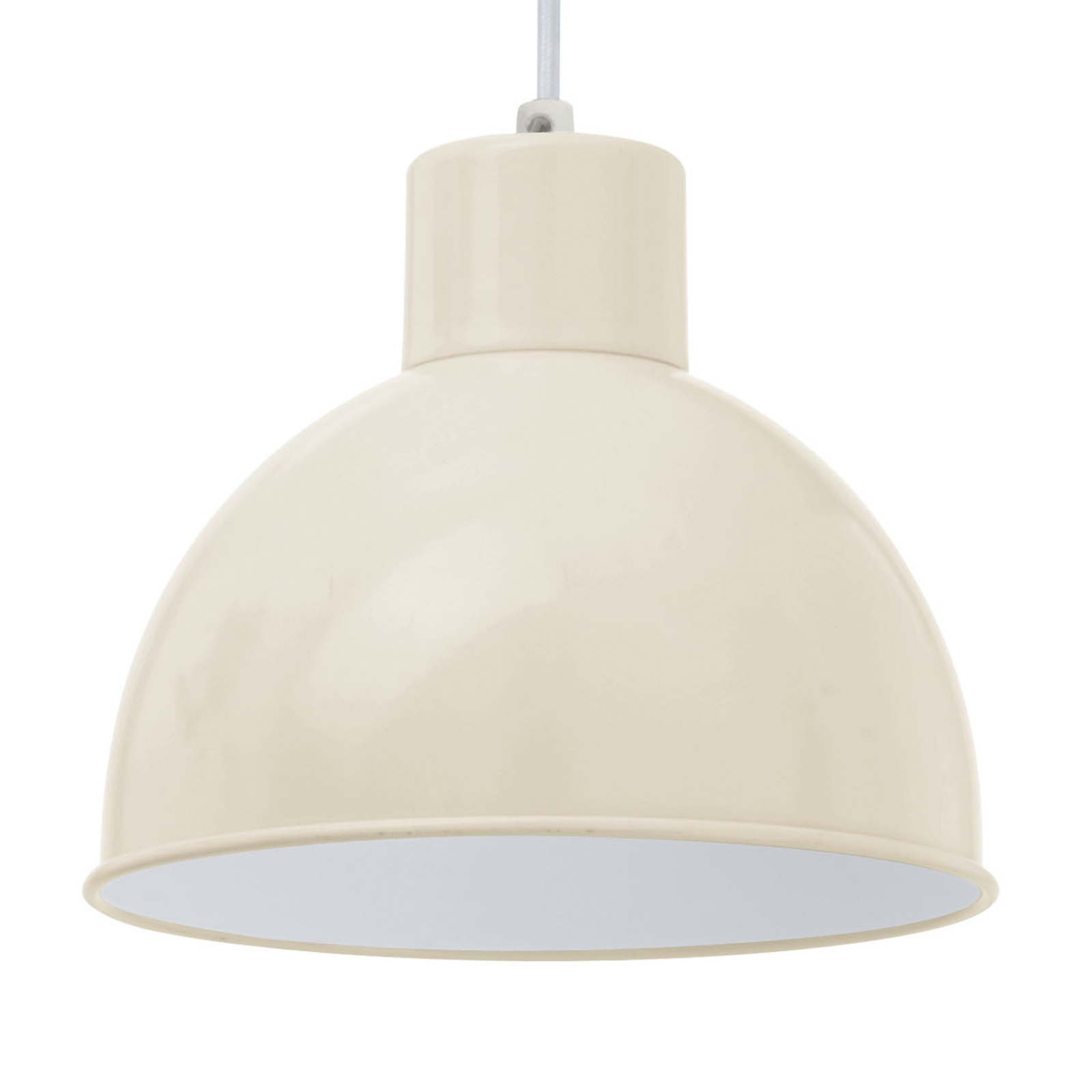 Zandkleurige hanglamp Andrin - binnenin wit