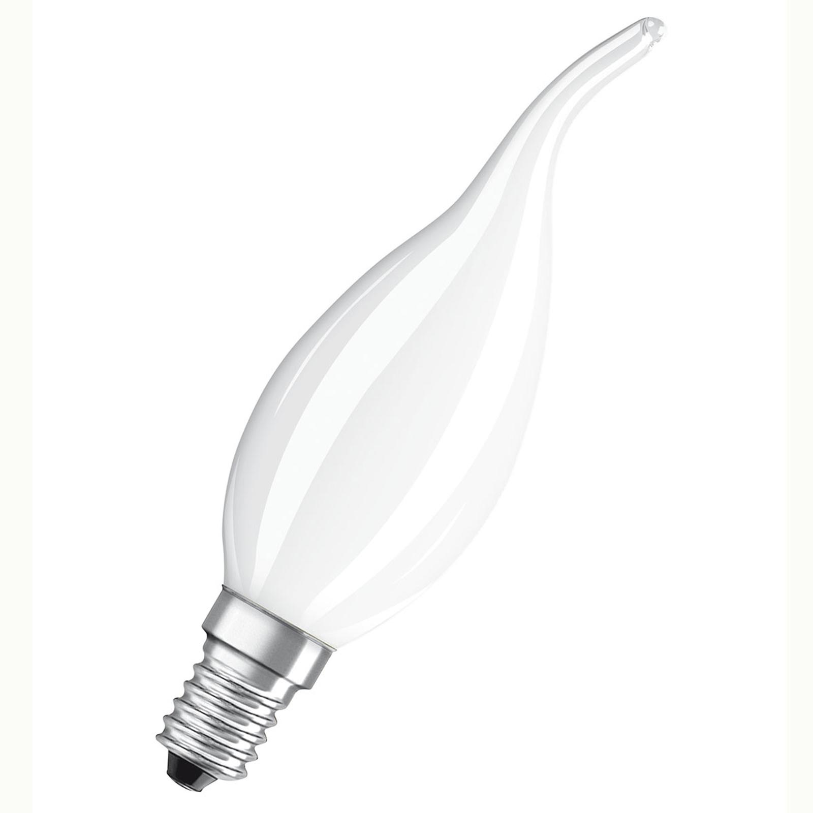 OSRAM LED fiamma E14 5W 827, dimming, satinato