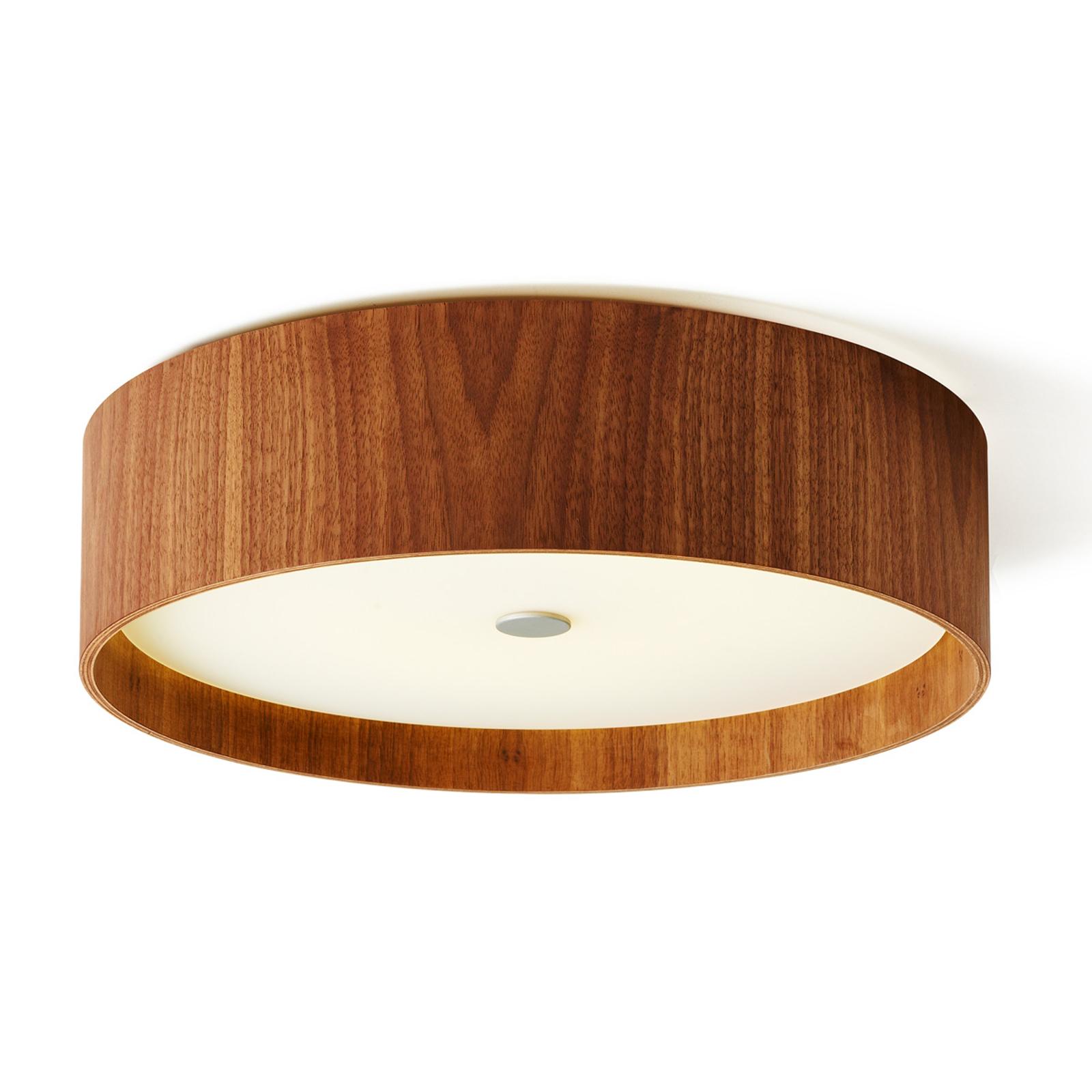 Plafoniera LED Lara wood in noce da 43cm