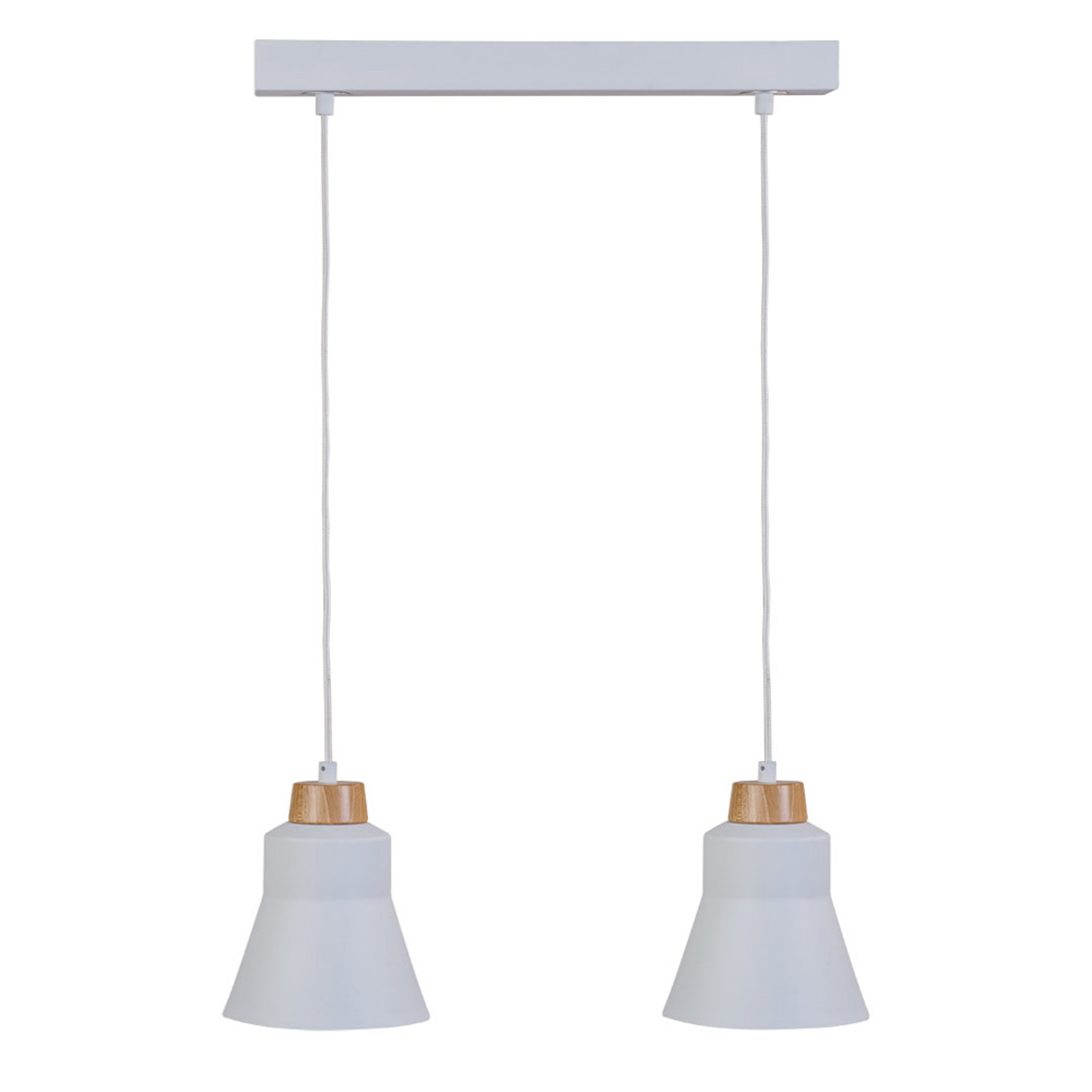Hanglamp Wood, 2-lamps, wit