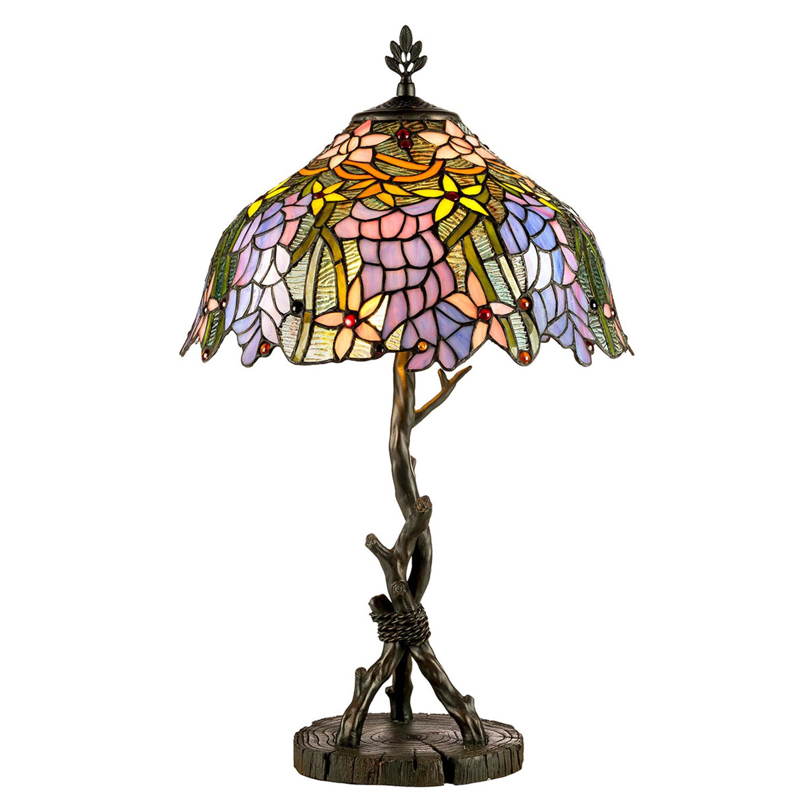 KT1082+AG711P bordlampe i Tiffany-stil