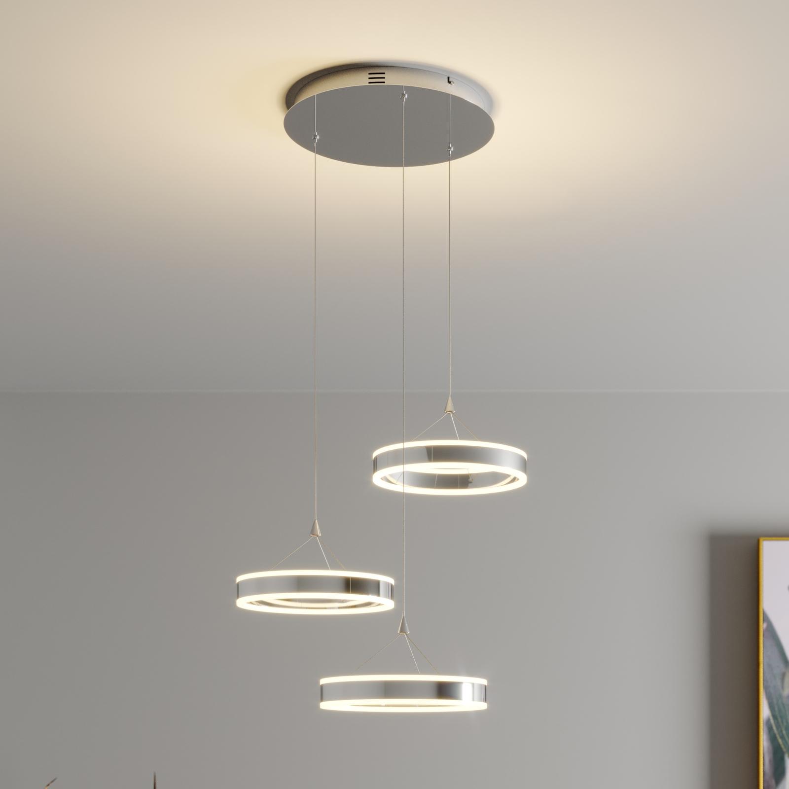 LED-Pendellampe Lyani, 3 Ringe, Höhe verschieden