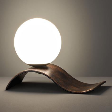 Lampada da tavolo Lara di vetro, rame anticato