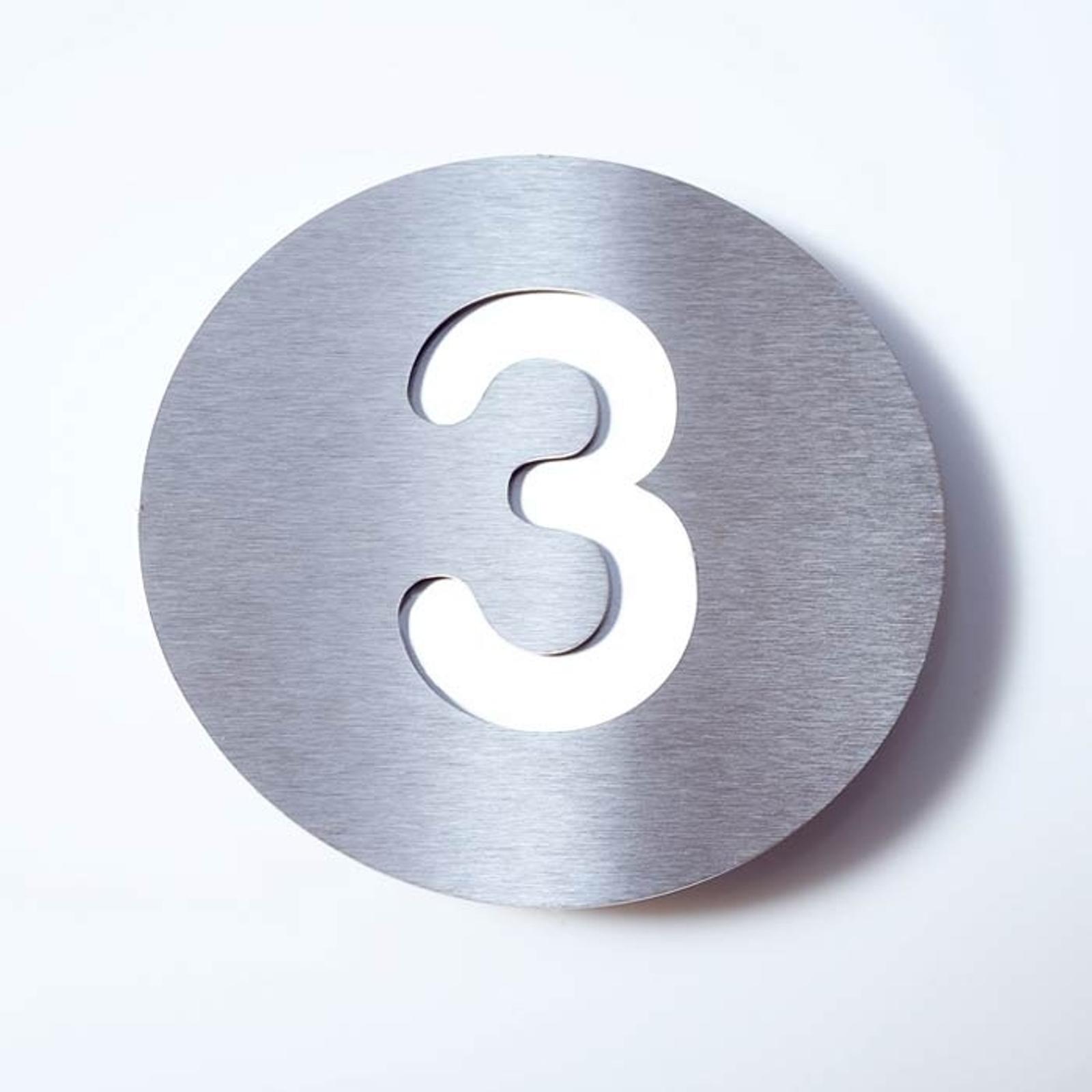 Domovní číslo Round z nerezu - 3