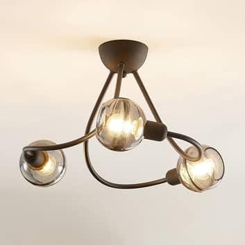 Lucande Ably Deckenlampe, Rauchglas, dreiflammig