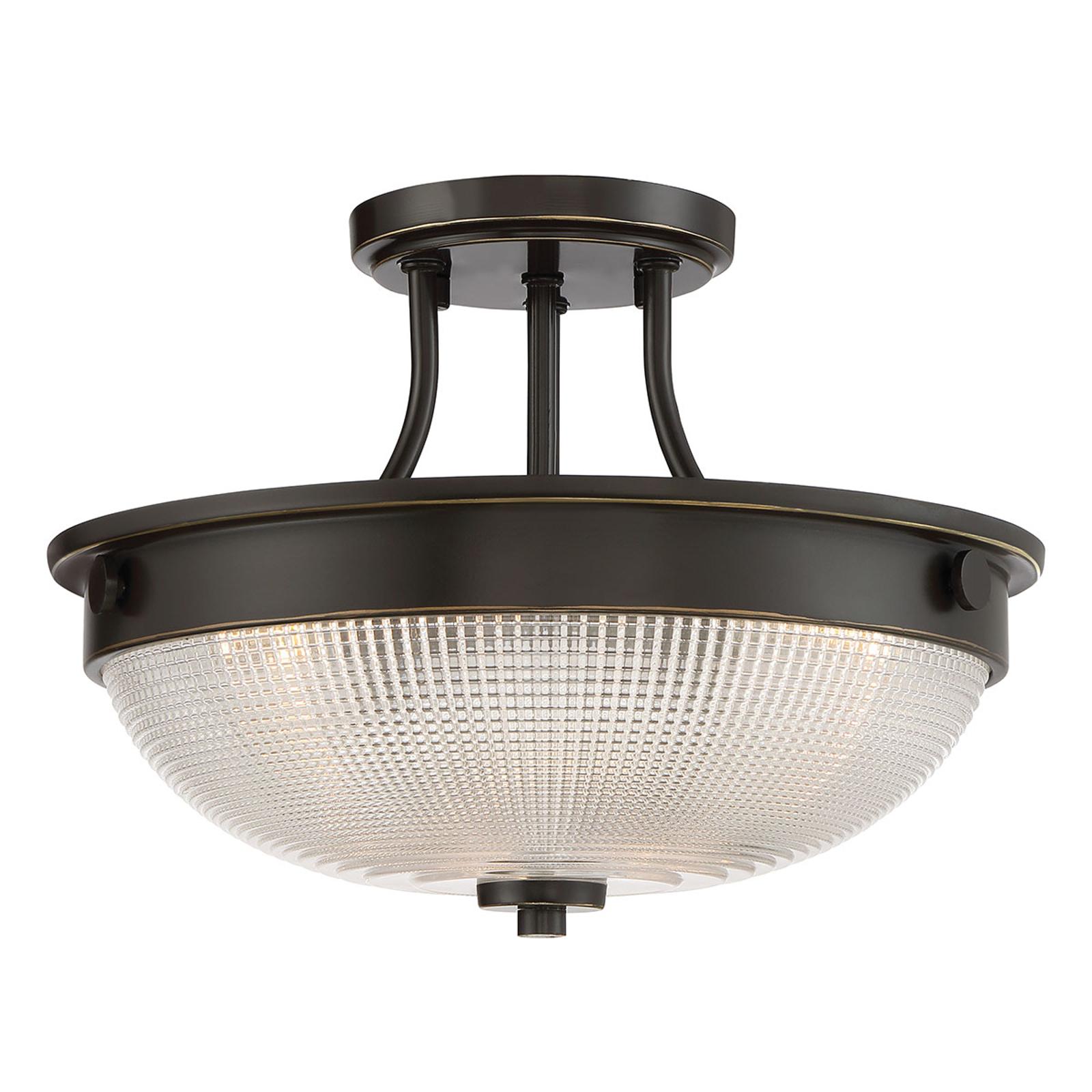 Glas-plafondlamp Mantle met bronsfinish