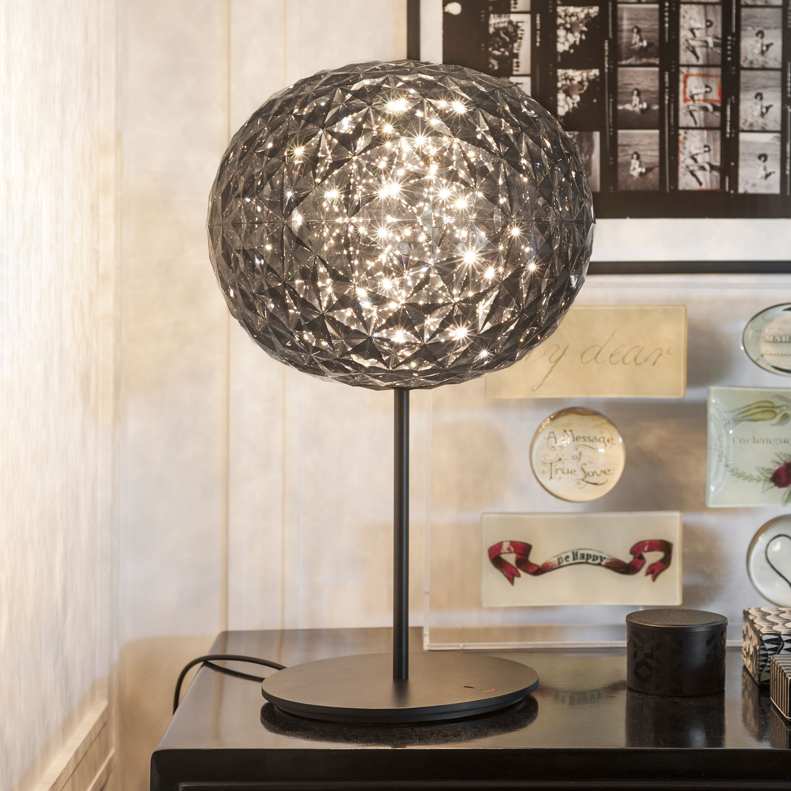 LED tafellamp Planet met touchdimmer, rookgrijs