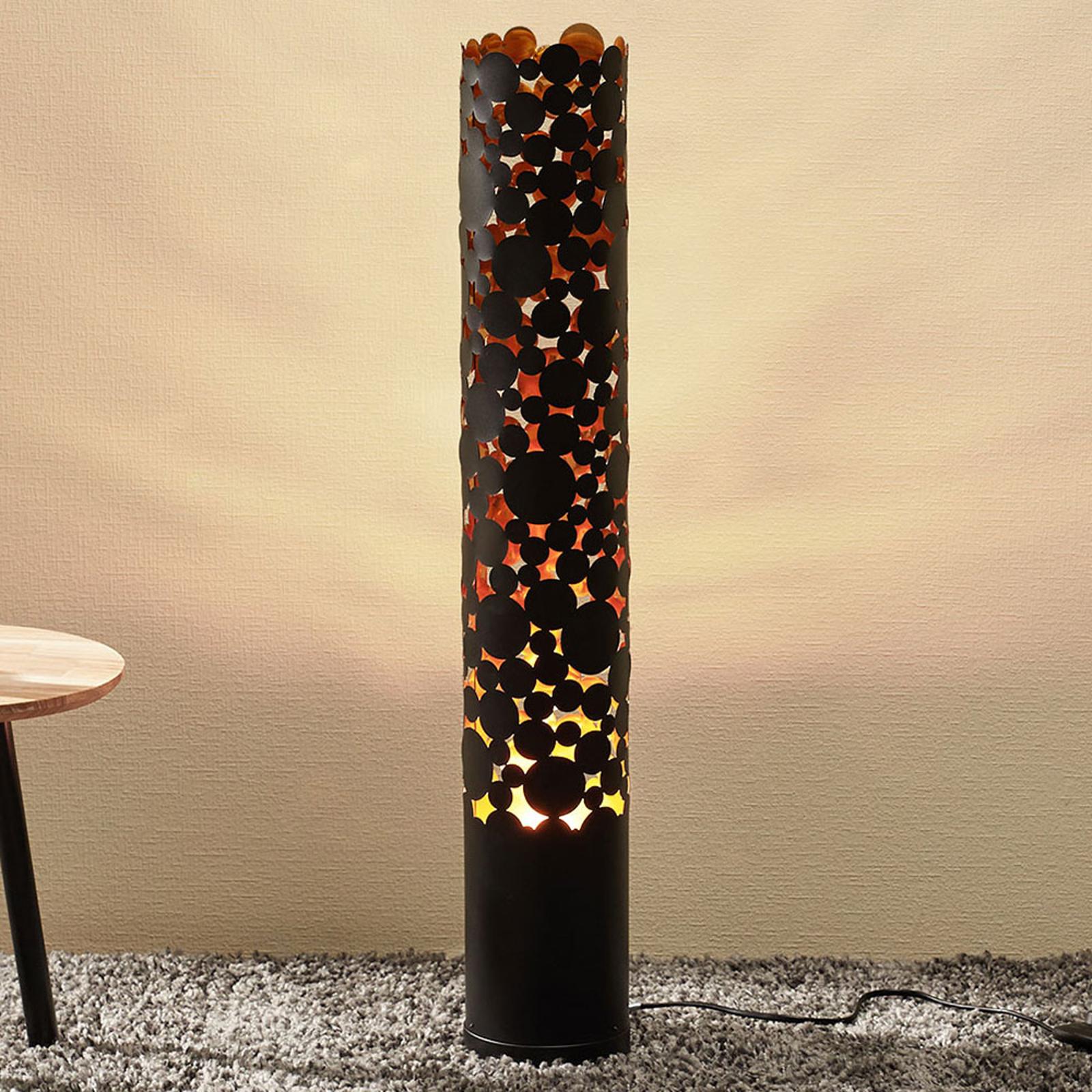 Lampadaire LED Coins effet flamme, noir