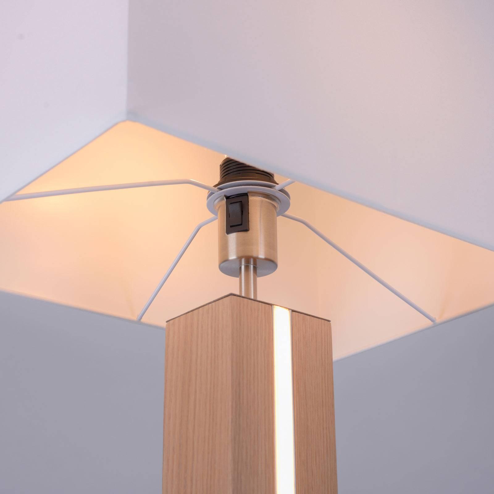 Lampadaire Amanda à 2 lampes en aspect bois