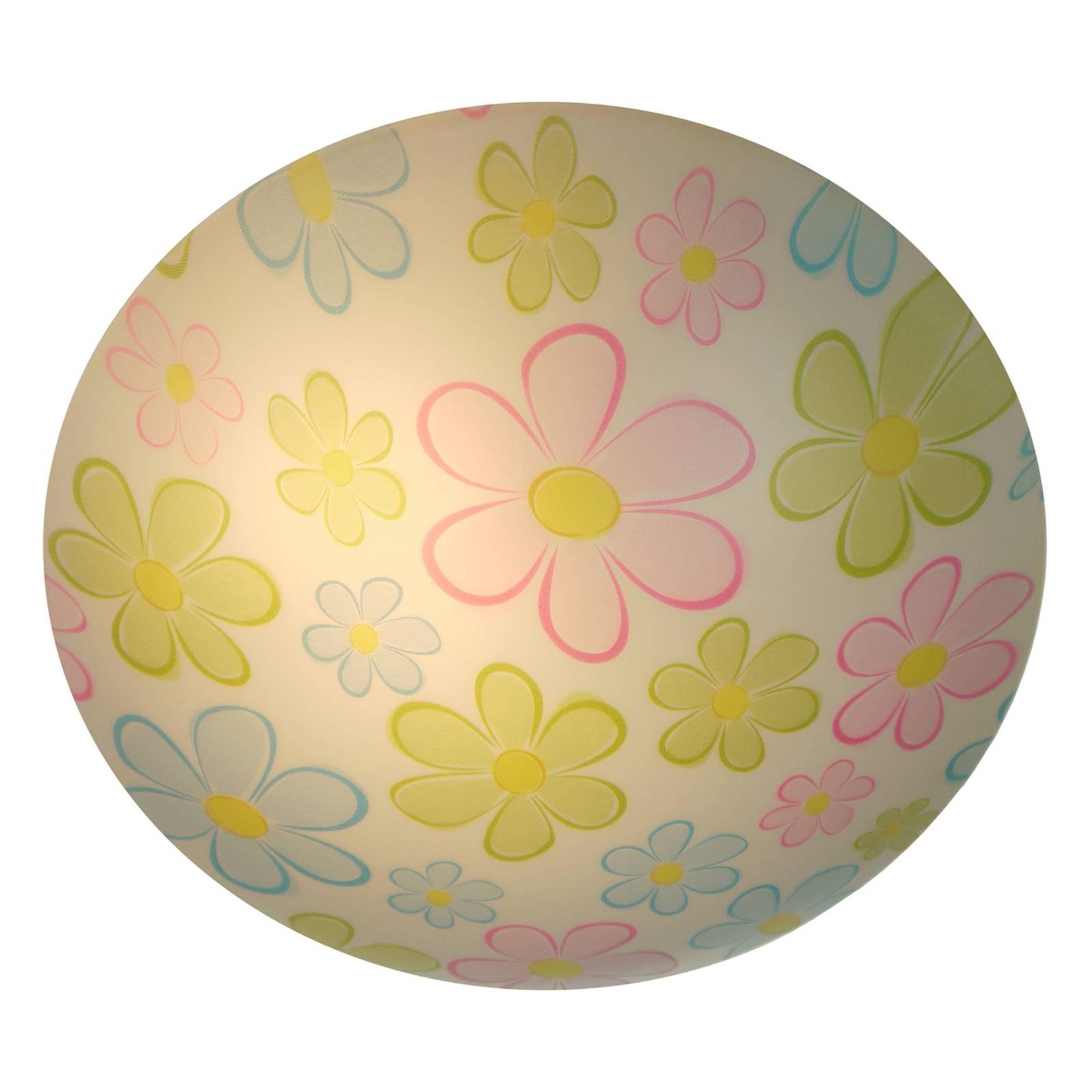 Ronde kinder-plafondlamp kleurrijke Bloemen