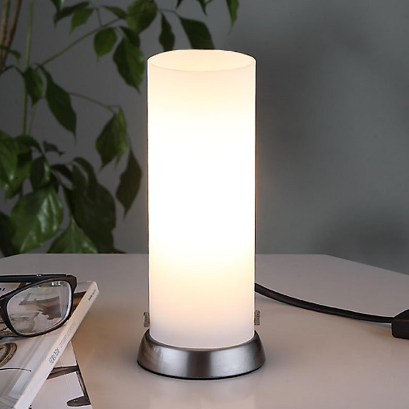 Válcová stolní LED lampa Andrew, ze skla
