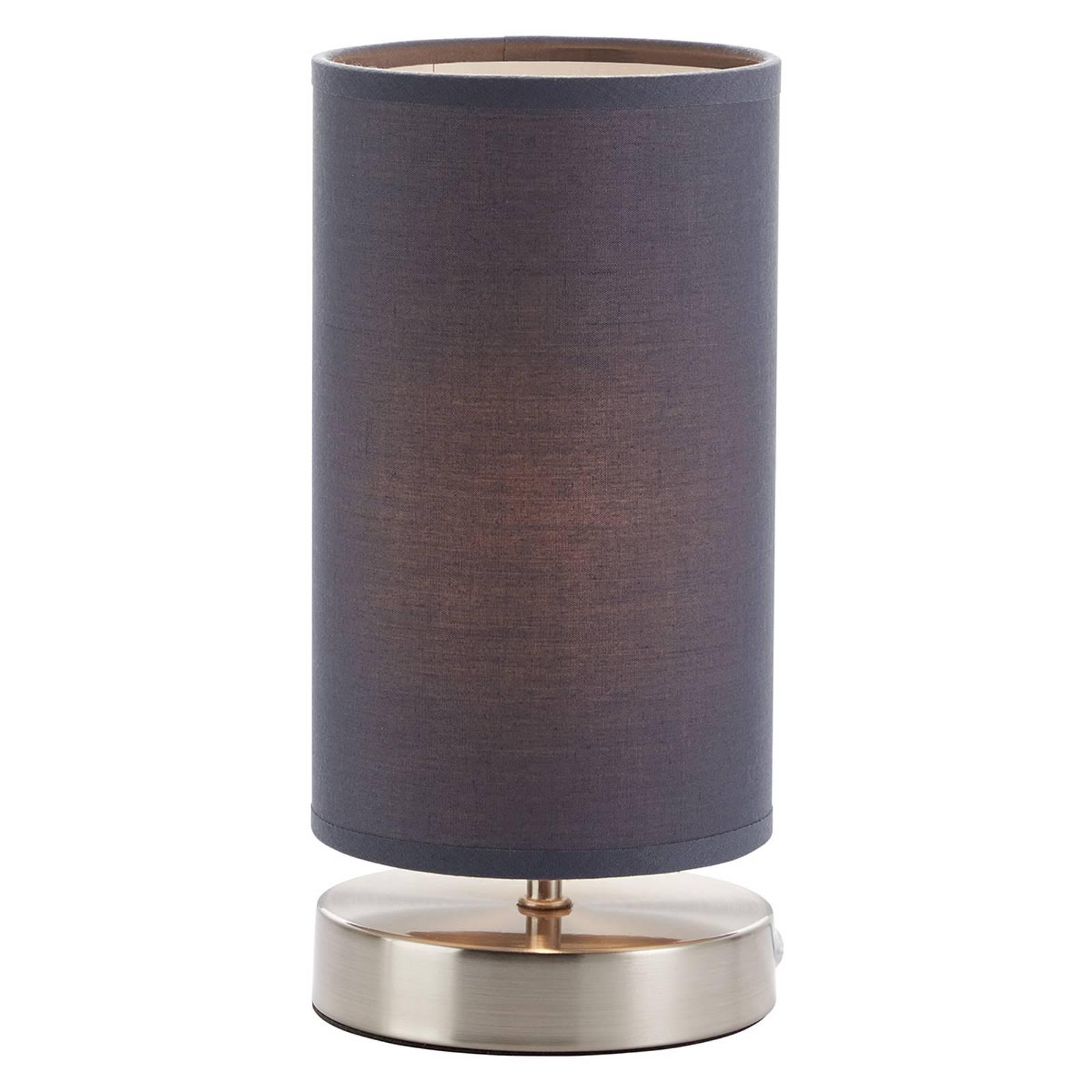 Tafellamp Clarie met grijze stoffen kap
