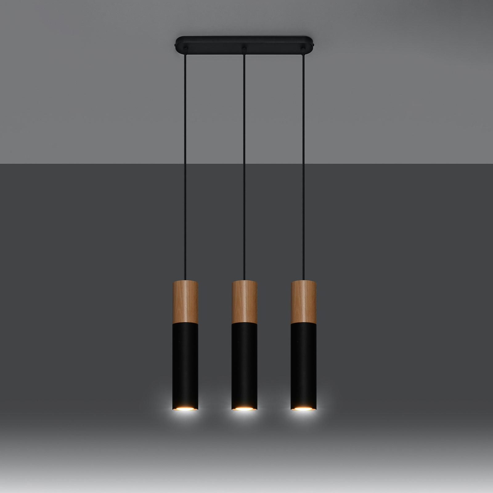 Hanglamp Tube, hout, zwart, 3-lamps