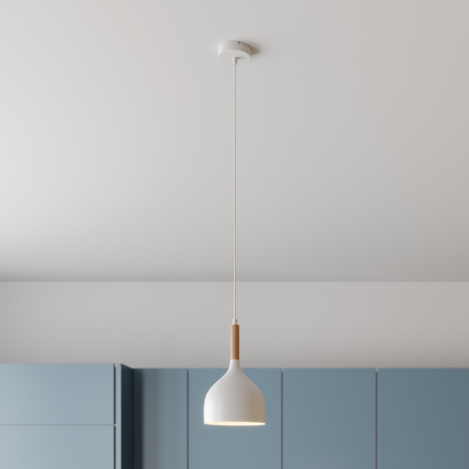 Lampa wisząca Noak 1-pkt. biała/drewno naturalne