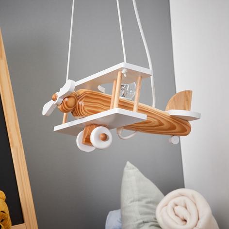 Weiße Pendellampe Flugzeug mit Holzelementen