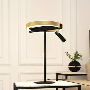 Lucande Matwei LED stolní lampa, kruh, mosaz