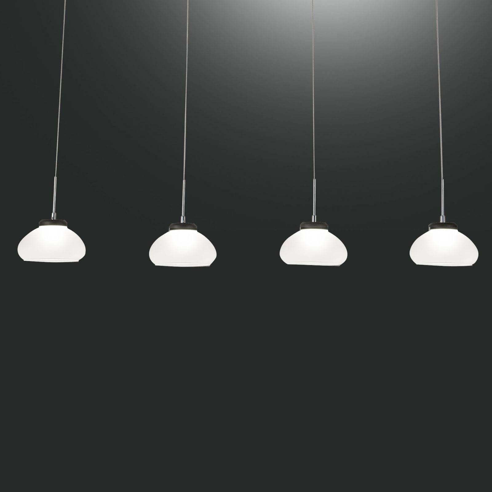 Hanglamp Arabella 4-lamps in rij, wit