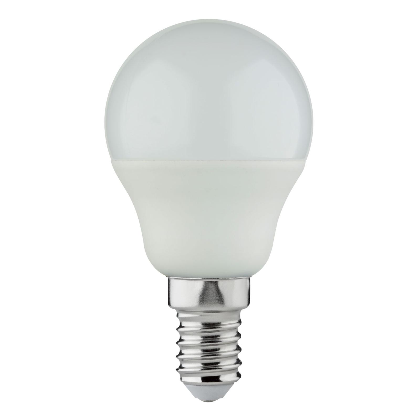Bombilla gota LED Lindby E14 G45 4,5W 3.000K opal