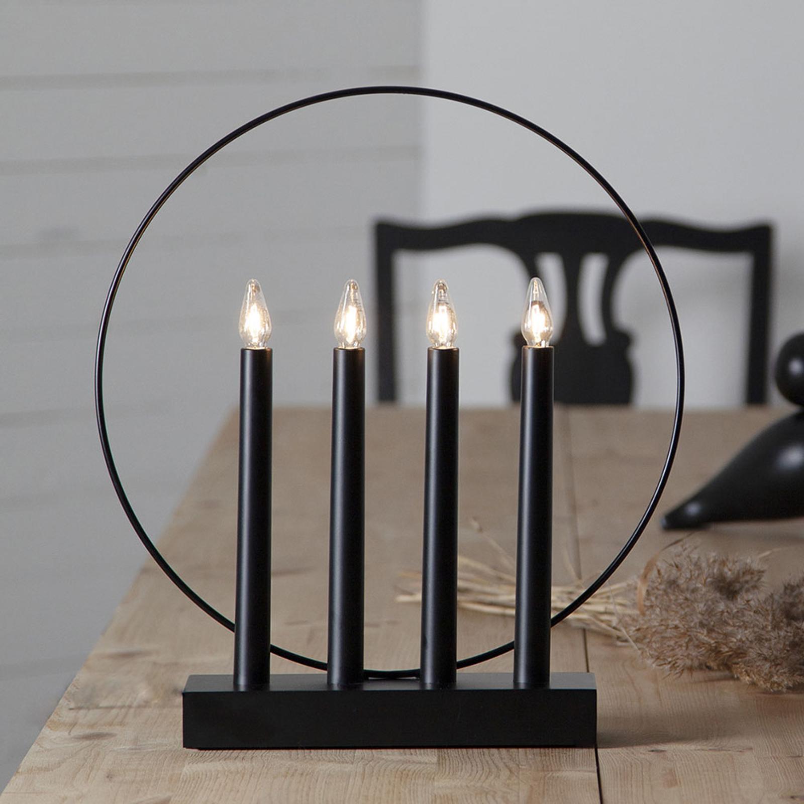 Läs mer om Fönsterljusstake Glossy, ring, 4 lampor, svart