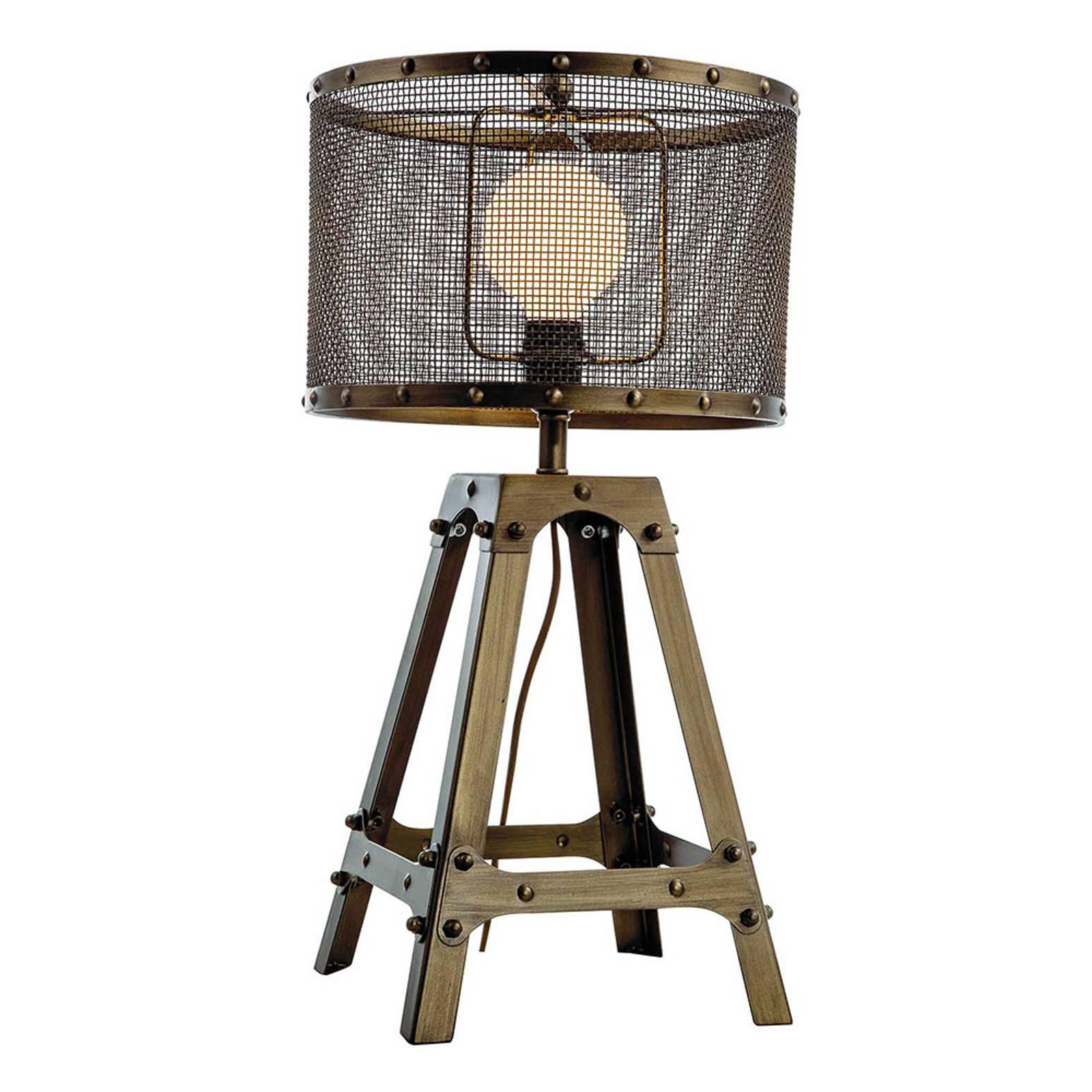 Lampe à poser Afelio en acier, brun oxydé