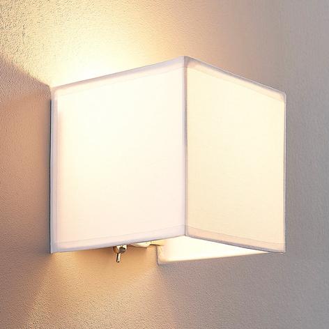 Stoffen wandlamp Adea met schakelaar, 13 cm, wit