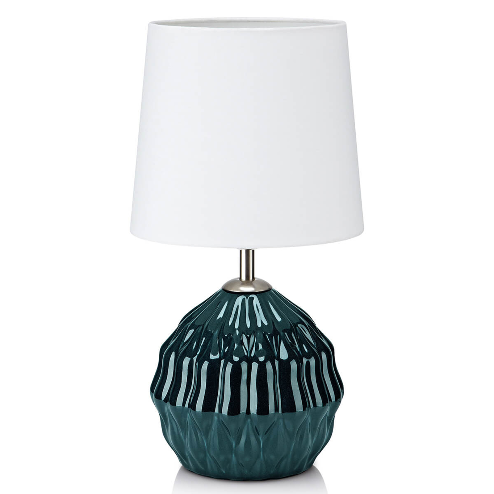 Groene keramische voet - stoffen tafellamp Lora