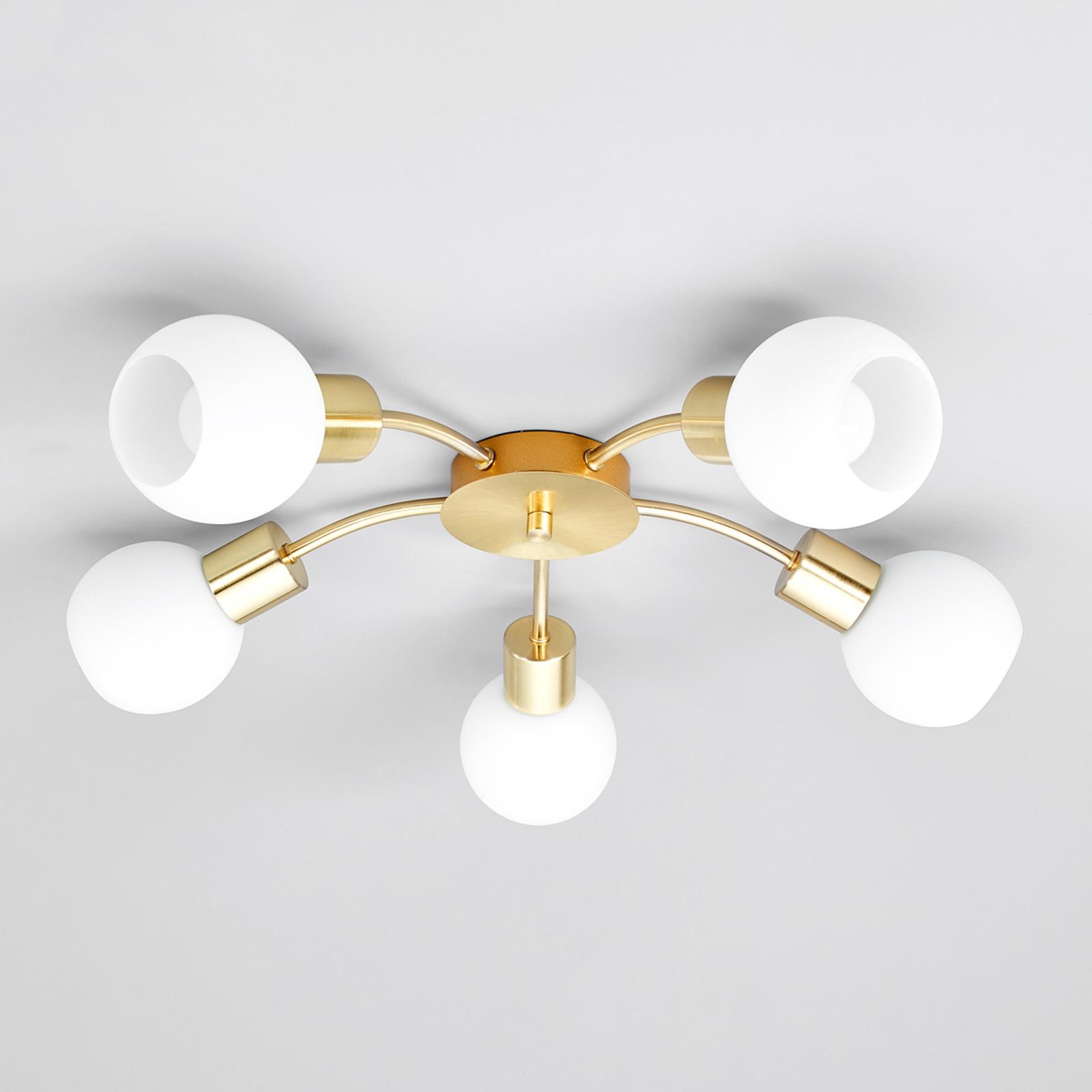 Elaina - Plafonnier LED à 5 lampes en laiton