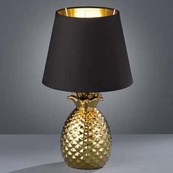 Fornem keramisk bordlampe Pineapple i guld-sort