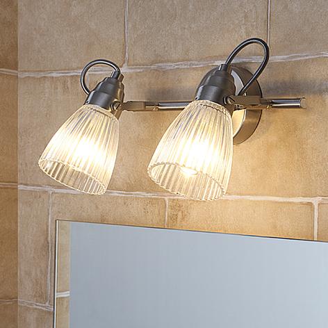 Kara - badeværelses væglampe, rillet glas og LED