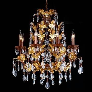 Ljuskrona CR12, 8 lampor, glashängen