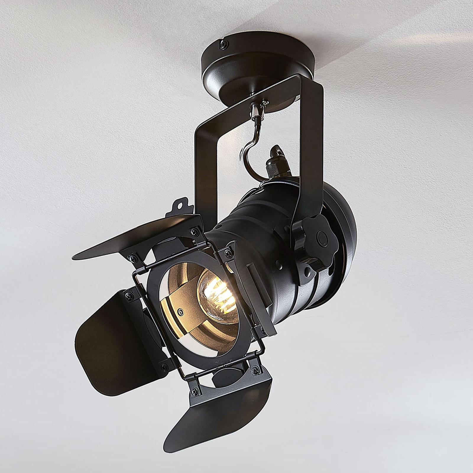 Plafondlamp Tilen, met één lampje in koplamp-look