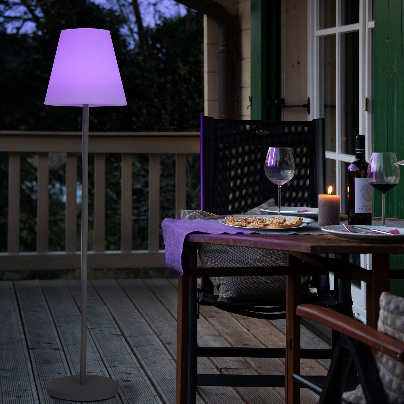 Menorca LED-gulvlampe, solcelle, farveskift, IP44