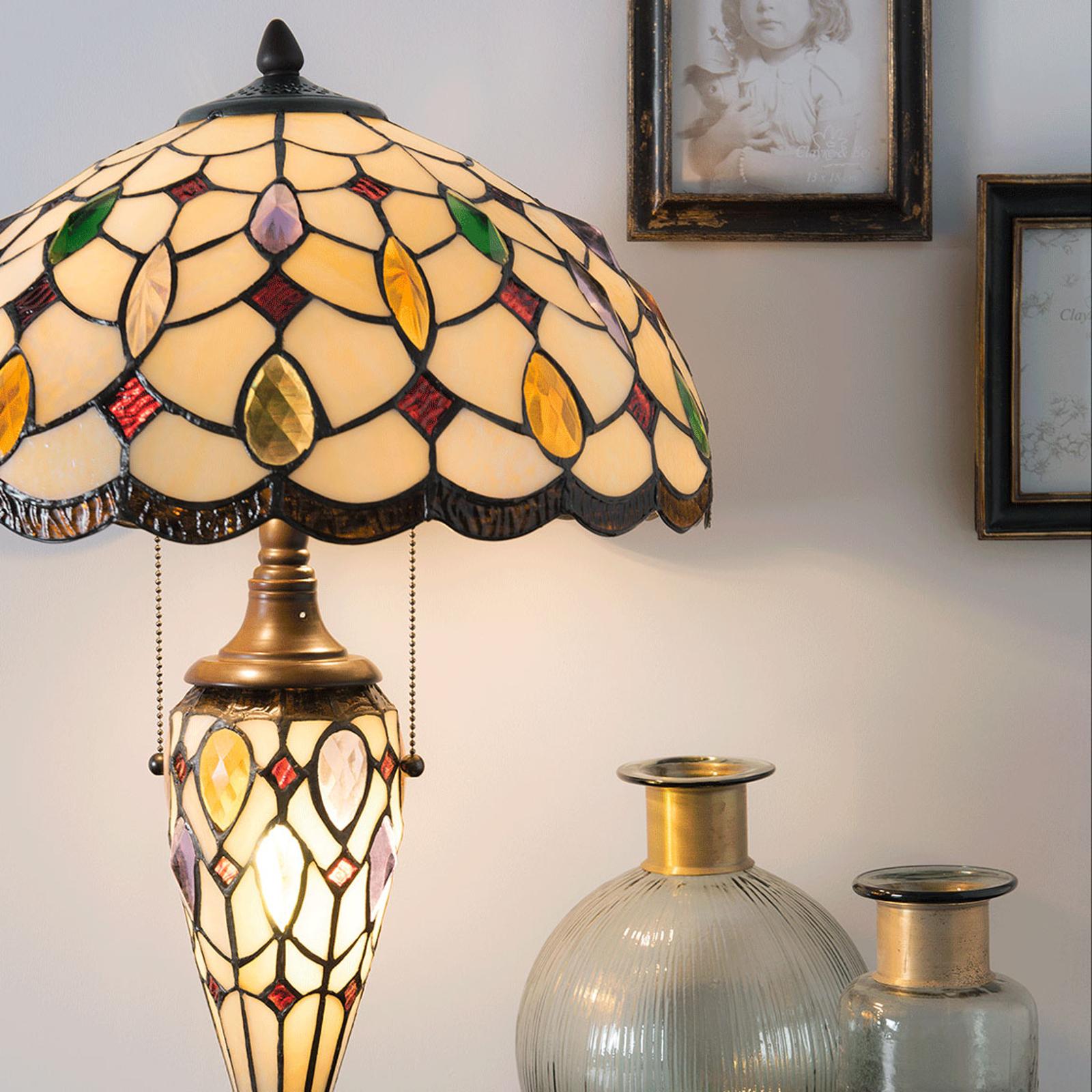 Tischleuchte 5182 mit buntem Tiffany-Glasschirm