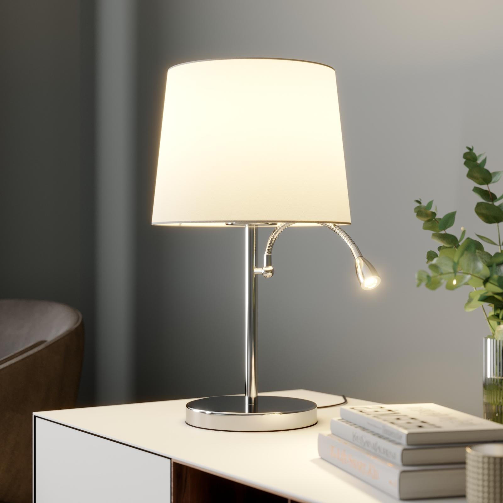 Bordlampe Benjiro i tekstil med LED-leselampe