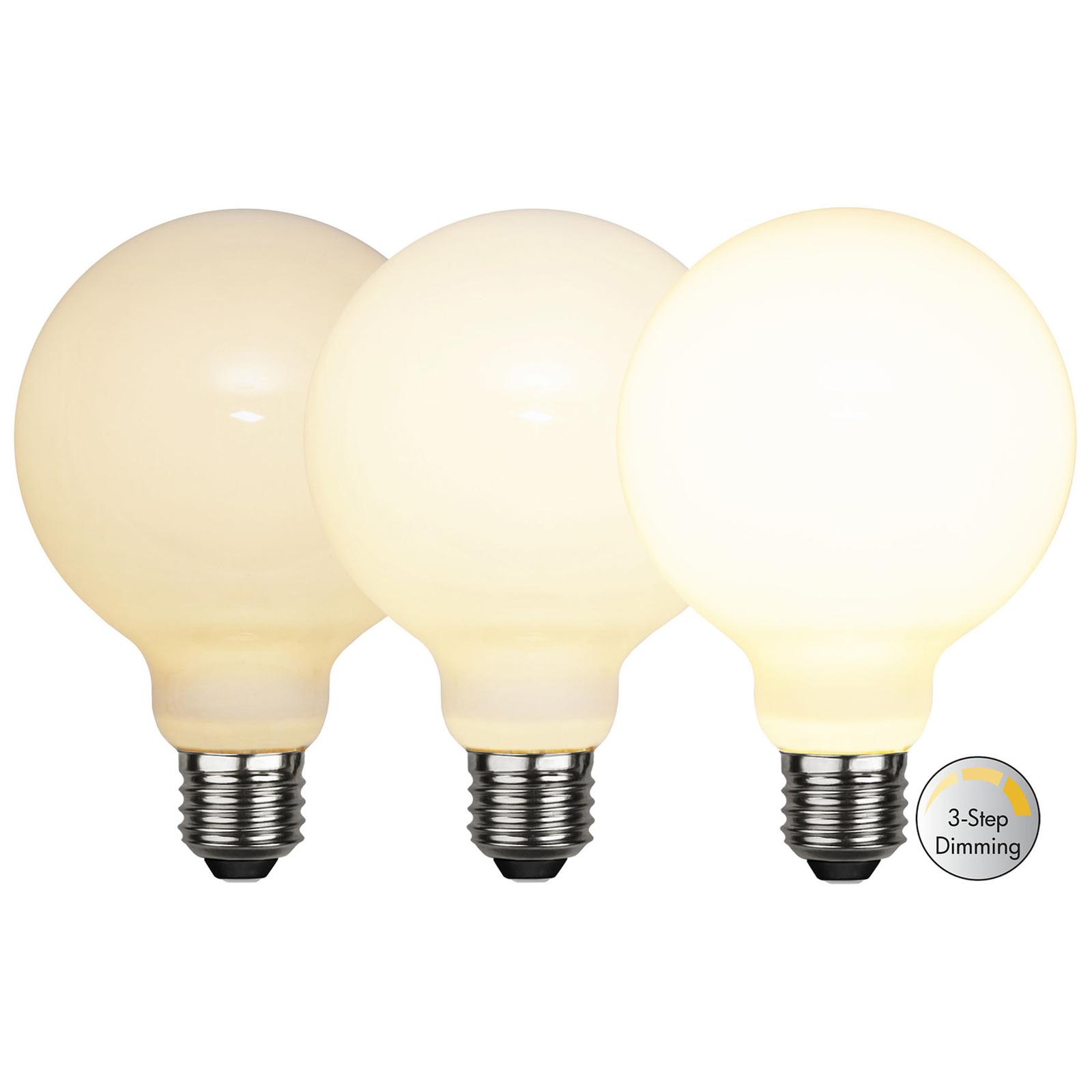 LED-Globelampe E27 G95 7,5W 3-step-dim, opal