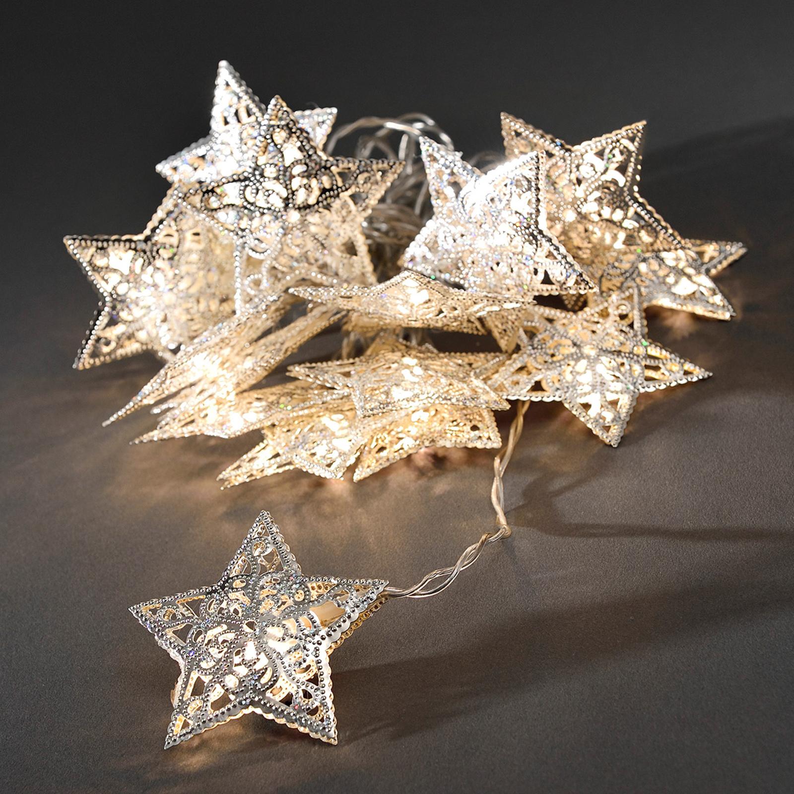 Metallstjärna silver LED-ljuskedja 16-arm.
