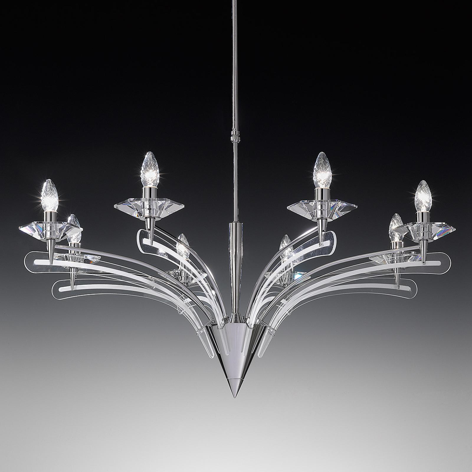 Lustre ICARO avec verre cristal , 8 lampes, chromé
