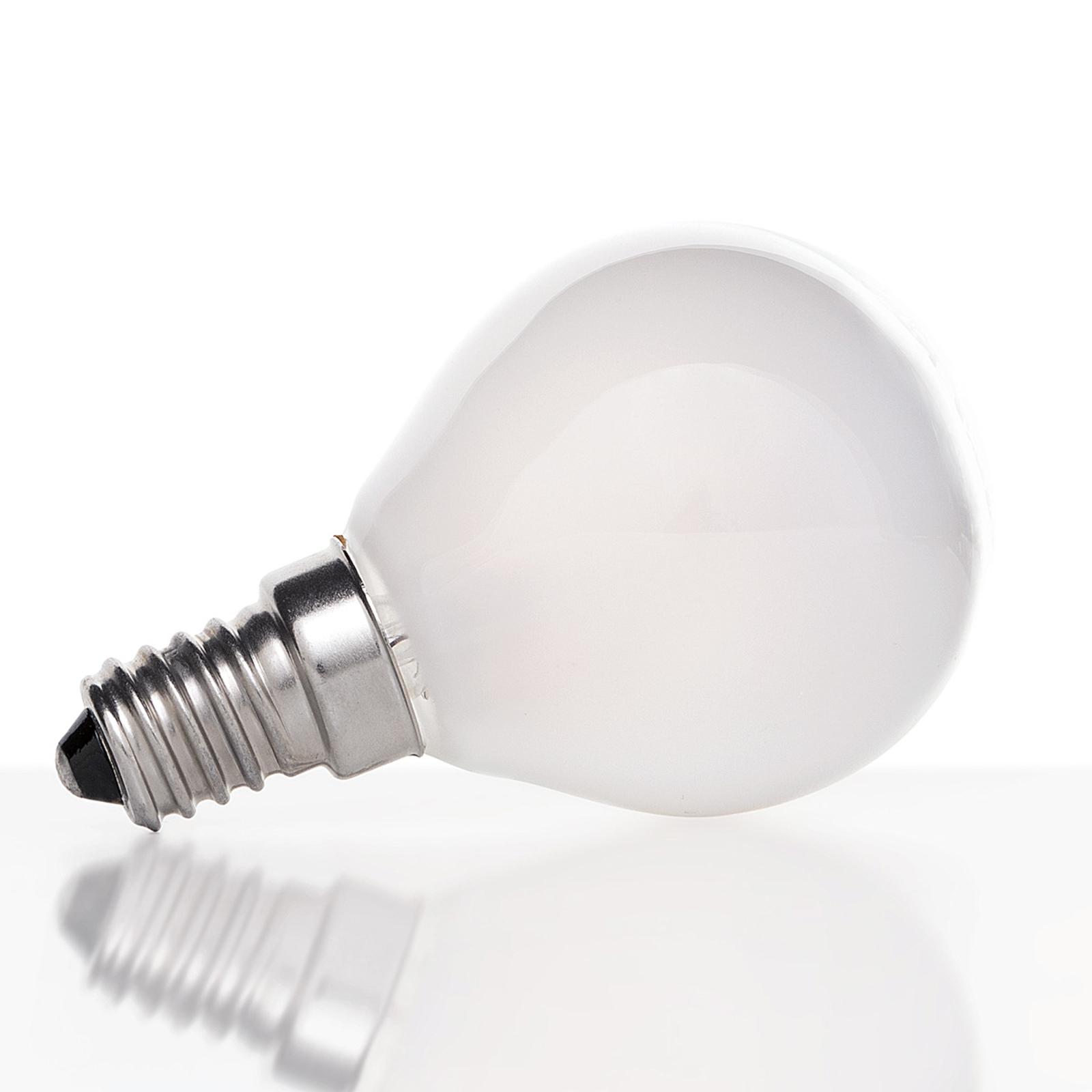 LED-dropplampa E14 4W 827, matt insida