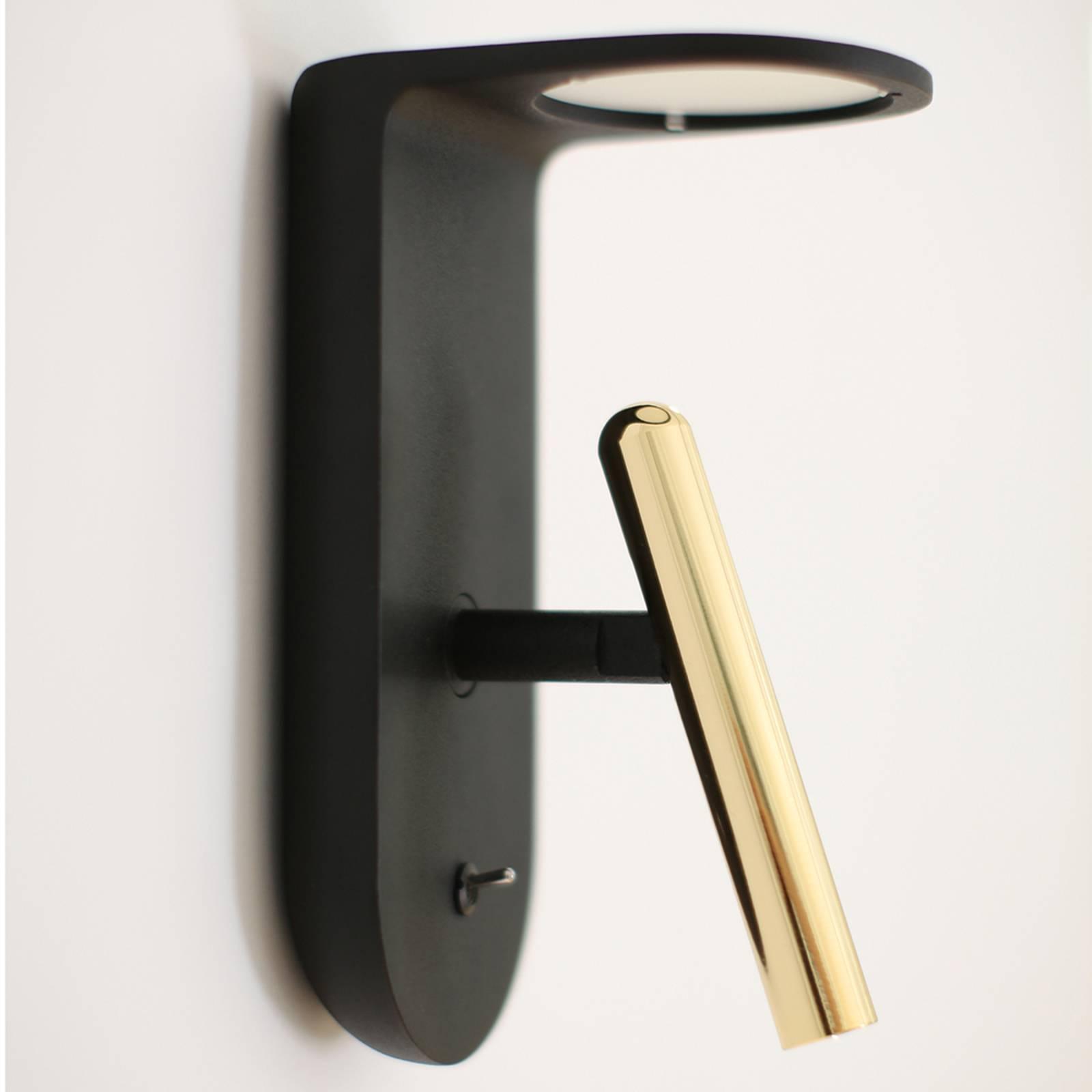 Zwart-gouden ontworpen LED wandlamp 2Nights_W2