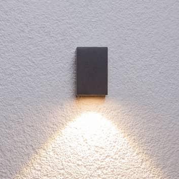 Grafitgrå udendørs LED væglampe Tavi, højde 9,5 cm