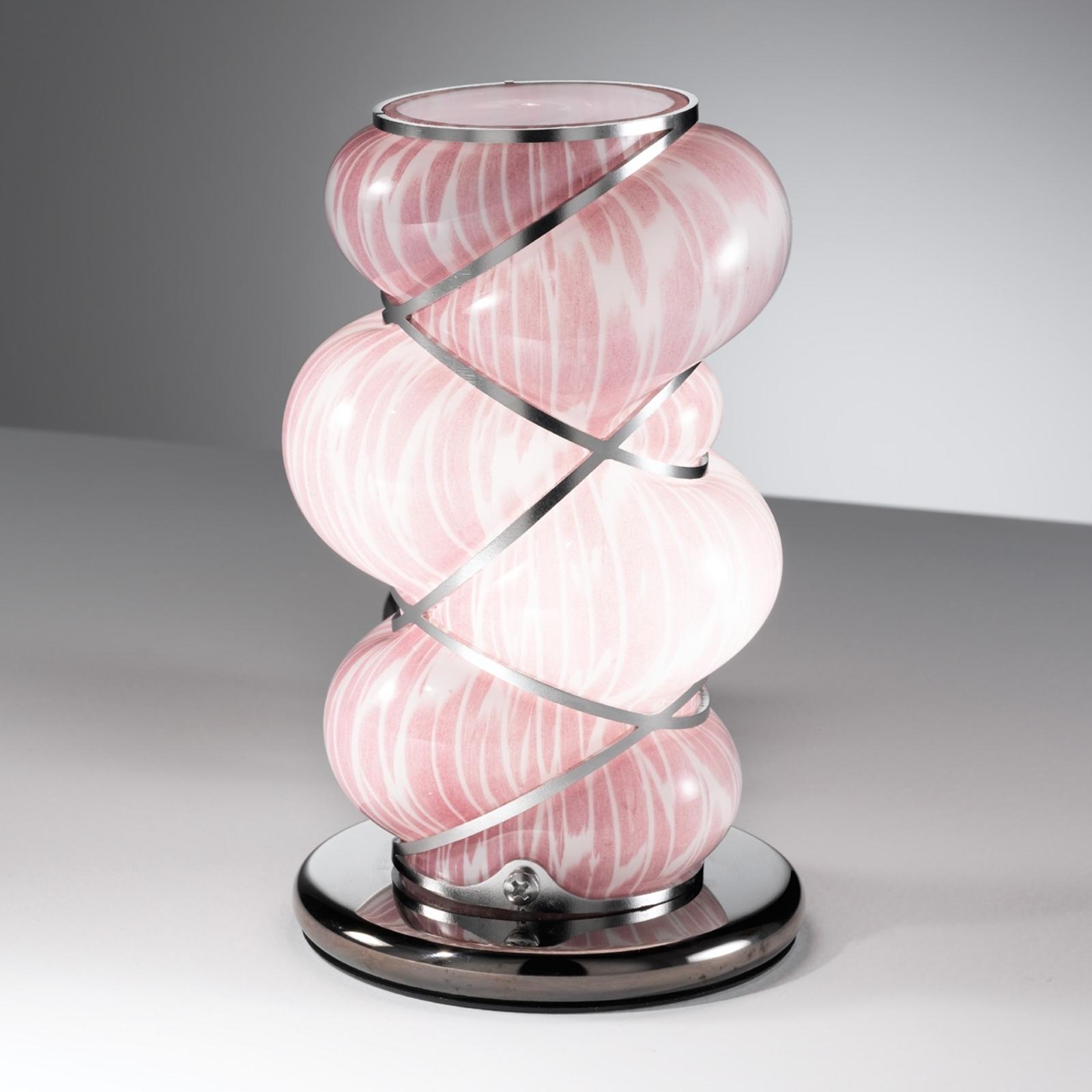 Orione-Tischleuchte mit Edelstahl-Elementen, rosa