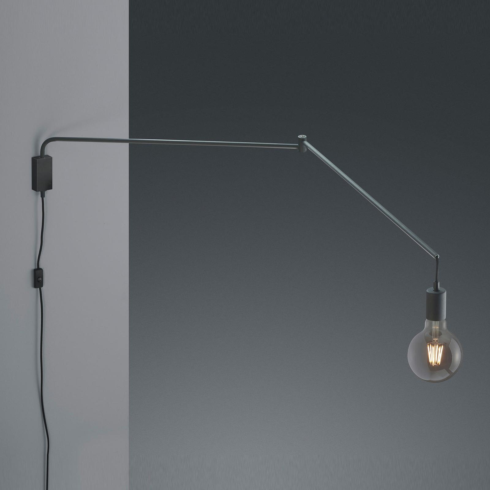 Vegglampe Line med kabel + plugg, svart