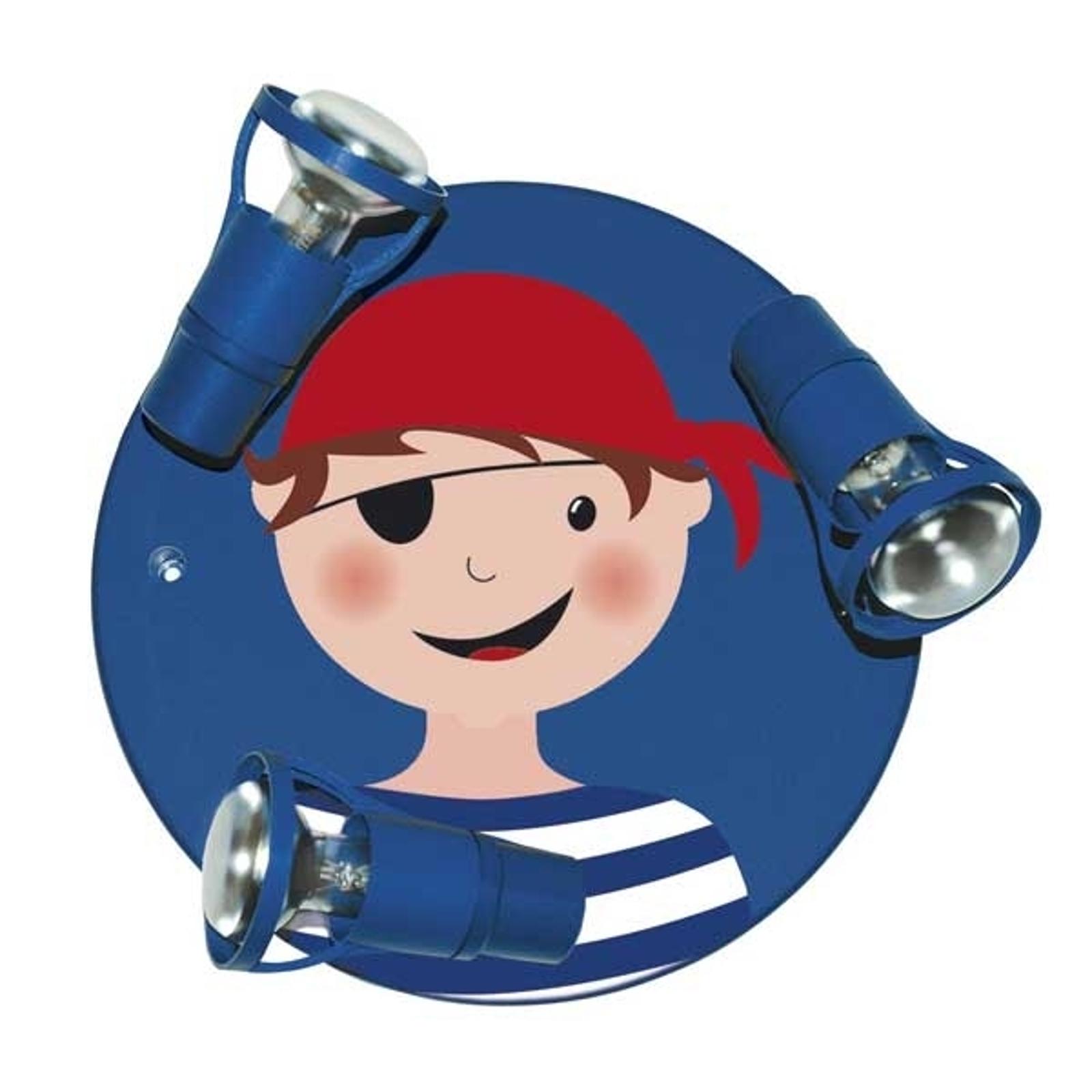 Deckenleuchte Pirat, Portrait für Kinder 3-flammig
