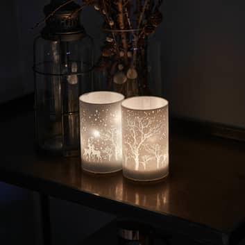 Candela LED deco Ava, set 2x, 12cm, cervo
