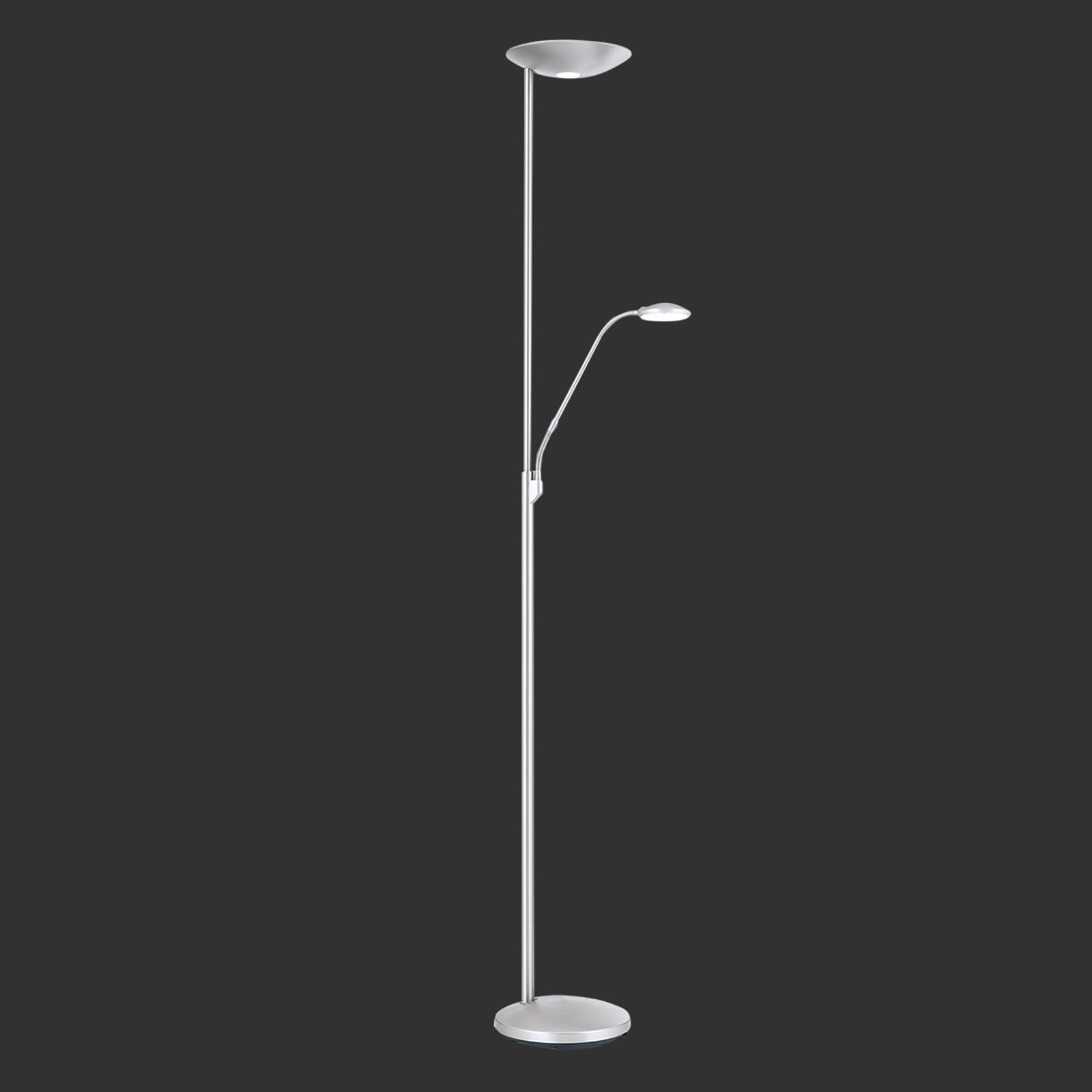 LED uplighter Cobra in nikkel mat met leeslamp